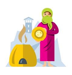 muslim arab woman baking bread flat style vector image