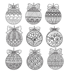 Nine christmas balls vector