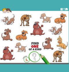 one a kind game for children with funny dogs vector image