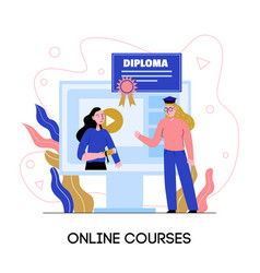 Online education diploma composition vector