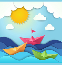 origami boat cut paper ocean waves shadows vector image