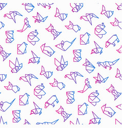 Origami seamless pattern with thin line icons vector