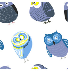 Owls cartoon kid funny characters with feather vector