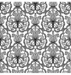 Paisley ornamental floral black and white greek vector