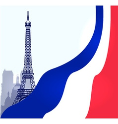Paris with French flag vector image