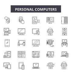personal computers line icons signs set vector image