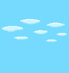 Pixel art game background with blue sky and clouds vector