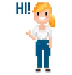 Pixel woman saying hi pixelated graphics vector