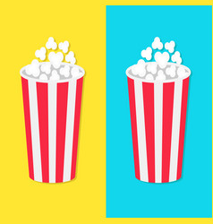 Popcorn round bucket box set movie cinema icon in vector