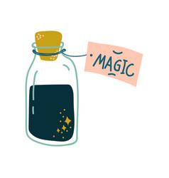 potion bottle glass transparent flask with black vector image
