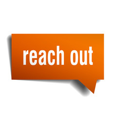 reach out orange 3d speech bubble vector image