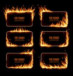 Rectangular fire frames burning borders vector