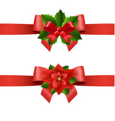 red ribbon with holly berry and poinsettia vector image
