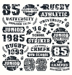 Rugby team typographic elements vector