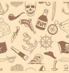 seamless pattern with pirate design elements vector image