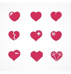 Set love signs 9 hearts icons vector