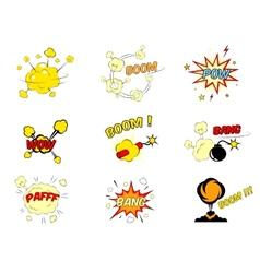 Set of comic cartoon text explosions vector image