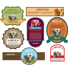 Set of Labels for Milk vector