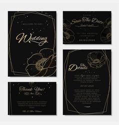 Set wedding invitations black and golden vector