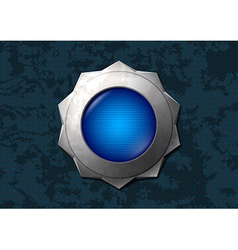 Shiny blue star button vector