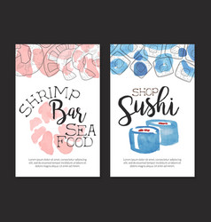 shrimp bar sea food card template sushi shop vector image