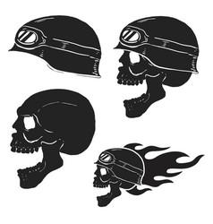 Skull in rider helmet with fire vector