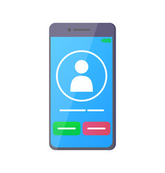 smartphone with screen showing incoming call vector image