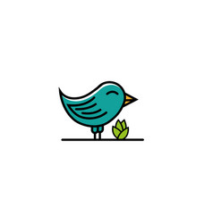 smiley bird stand beside a plant vector image