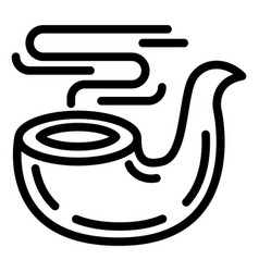 smoking pipe icon outline style vector image