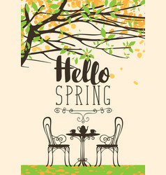 Spring flowering tree table for two and lettering vector