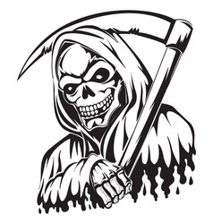 tattoo of a grim reaper holding a scythe vintage vector image
