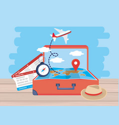tickets with airplane and global map location vector image