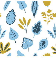 trendy seamless pattern with hand drawn plants vector image