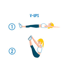 V-ups correct exercise in stages flat vector