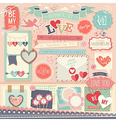 Valentines Day scrapbook set vector image