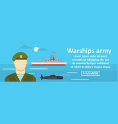 Warships army banner horizontal concept vector