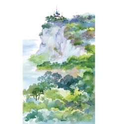 Watercolor Painting with Orthodox Church on green vector