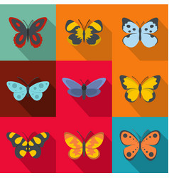 Wings of a butterfly icons set flat style vector