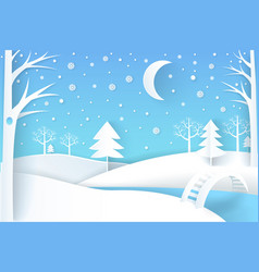 Winter landscape with river and white snowy trees vector