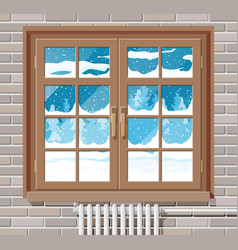 Winter window with brick wall view from room vector