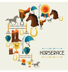 with horse equipment in flat style vector image