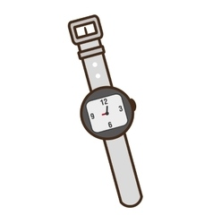 Wristwatch clock isolated icon vector