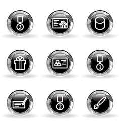 Glossy icon set 25 vector image