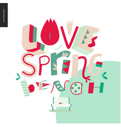 love spring bench fun lettering vector image vector image