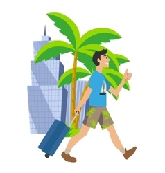 Man goes on vacation traveling to another country vector