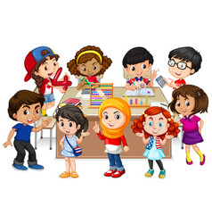 many kids learning math in classroom vector image