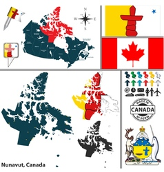 Map of Nunavut vector image