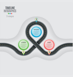 navigation map infographic 3 steps timeline vector image vector image