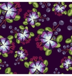 Pattern with blue flowers berries and leaves on vector