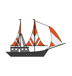 sail fishing boat design vector image